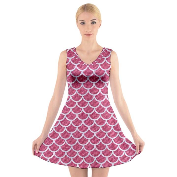 SCALES1 WHITE MARBLE & PINK DENIM V-Neck Sleeveless Dress