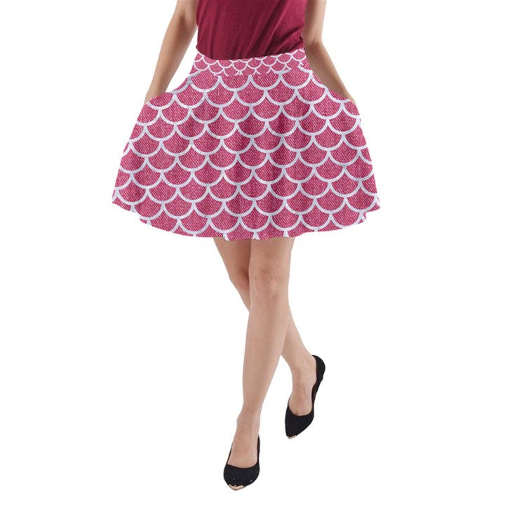 SCALES1 WHITE MARBLE & PINK DENIM A-Line Pocket Skirt