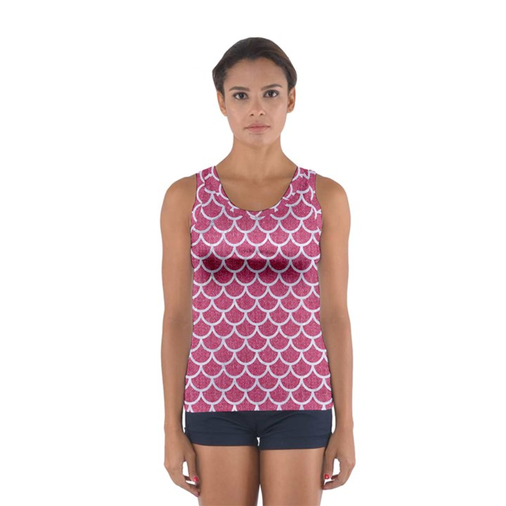 SCALES1 WHITE MARBLE & PINK DENIM Sport Tank Top
