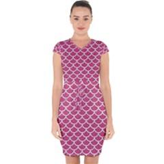 Scales1 White Marble & Pink Denim Capsleeve Drawstring Dress