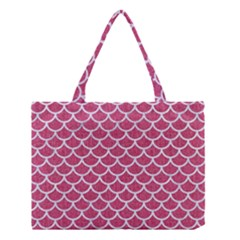 Scales1 White Marble & Pink Denim Medium Tote Bag