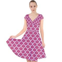 Scales1 White Marble & Pink Denim Cap Sleeve Front Wrap Midi Dress