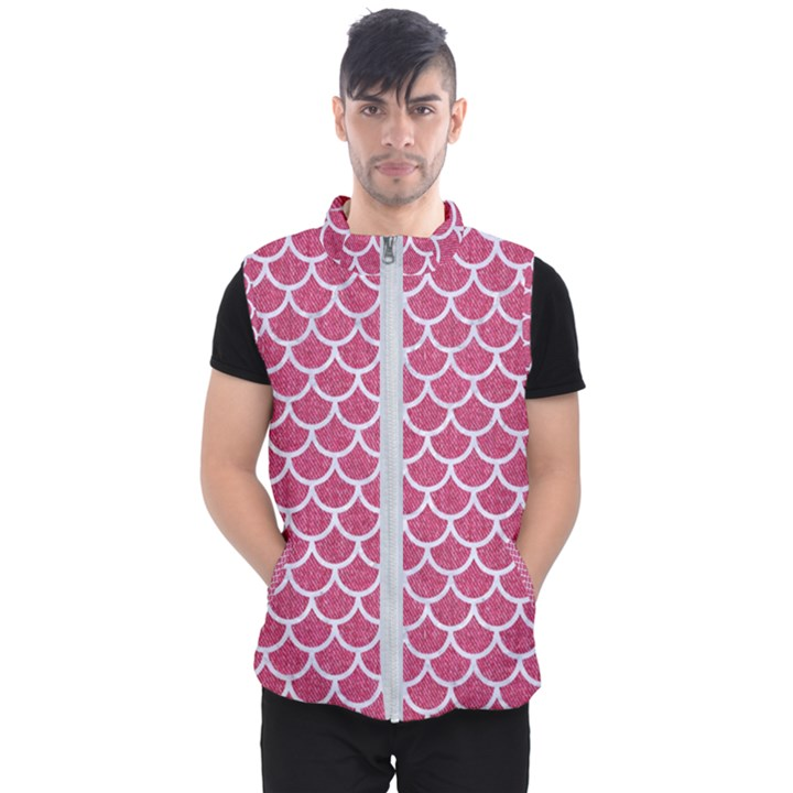 SCALES1 WHITE MARBLE & PINK DENIM Men s Puffer Vest