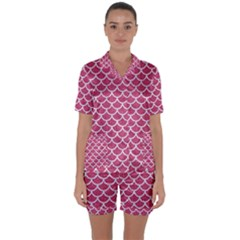 Scales1 White Marble & Pink Denim Satin Short Sleeve Pyjamas Set