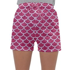 Scales1 White Marble & Pink Denim Sleepwear Shorts