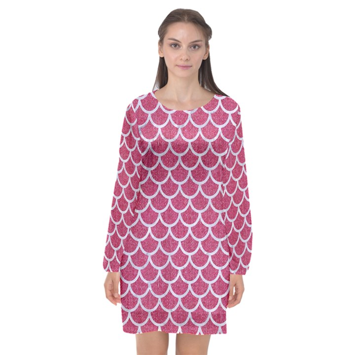 SCALES1 WHITE MARBLE & PINK DENIM Long Sleeve Chiffon Shift Dress
