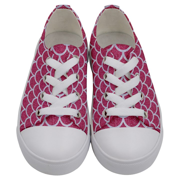 SCALES1 WHITE MARBLE & PINK DENIM Kids  Low Top Canvas Sneakers