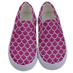 Scales1 White Marble & Pink Denim Kids  Canvas Slip Ons