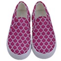 SCALES1 WHITE MARBLE & PINK DENIM Kids  Canvas Slip Ons View1