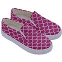 SCALES1 WHITE MARBLE & PINK DENIM Kids  Canvas Slip Ons View3
