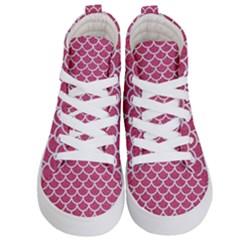 Scales1 White Marble & Pink Denim Kid s Hi Top Skate Sneakers