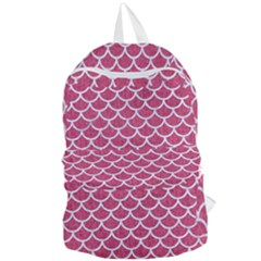 Scales1 White Marble & Pink Denim Foldable Lightweight Backpack