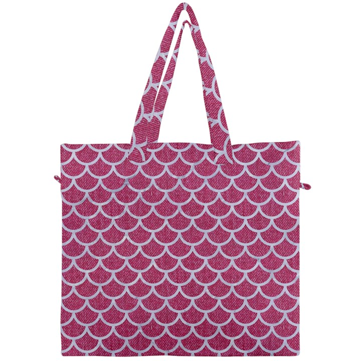 SCALES1 WHITE MARBLE & PINK DENIM Canvas Travel Bag