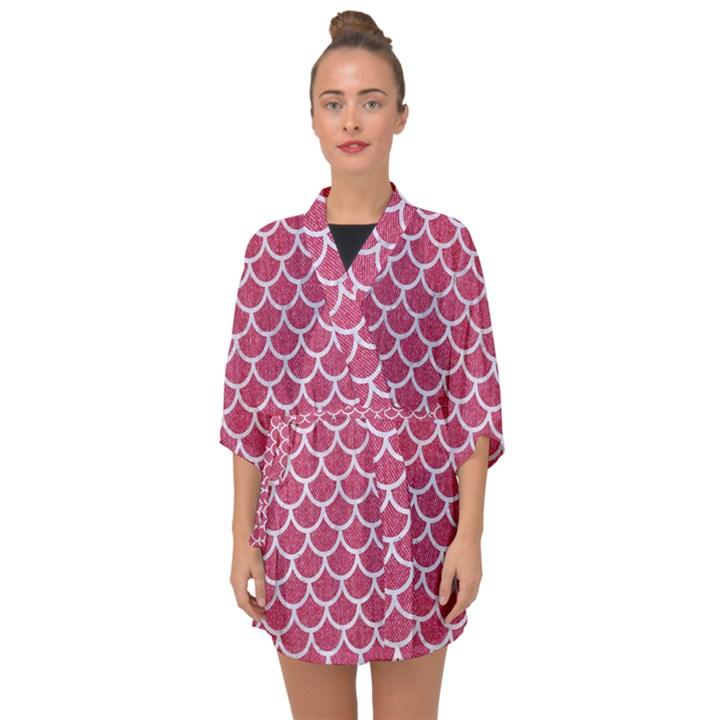 SCALES1 WHITE MARBLE & PINK DENIM Half Sleeve Chiffon Kimono