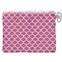 SCALES1 WHITE MARBLE & PINK DENIM Canvas Cosmetic Bag (XXL) View2