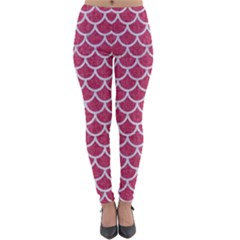 Scales1 White Marble & Pink Denim Lightweight Velour Leggings