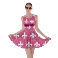 ROYAL1 WHITE MARBLE & PINK DENIM (R) Skater Dress