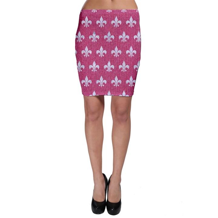 ROYAL1 WHITE MARBLE & PINK DENIM (R) Bodycon Skirt