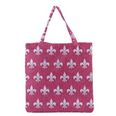 Royal1 White Marble & Pink Denim (r) Grocery Tote Bag