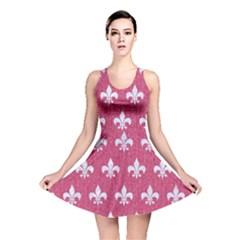 ROYAL1 WHITE MARBLE & PINK DENIM (R) Reversible Skater Dress