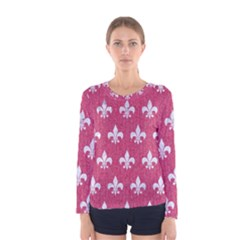 Royal1 White Marble & Pink Denim (r) Women s Long Sleeve Tee
