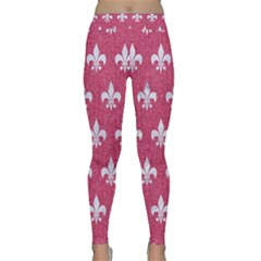 Royal1 White Marble & Pink Denim (r) Classic Yoga Leggings