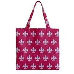 ROYAL1 WHITE MARBLE & PINK DENIM (R) Zipper Grocery Tote Bag