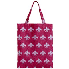 ROYAL1 WHITE MARBLE & PINK DENIM (R) Zipper Classic Tote Bag