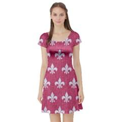 ROYAL1 WHITE MARBLE & PINK DENIM (R) Short Sleeve Skater Dress