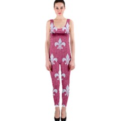 Royal1 White Marble & Pink Denim (r) One Piece Catsuit