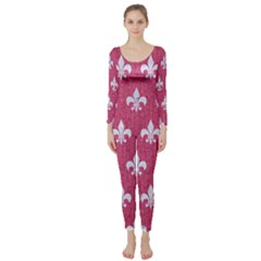 Royal1 White Marble & Pink Denim (r) Long Sleeve Catsuit