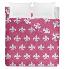 Royal1 White Marble & Pink Denim (r) Duvet Cover Double Side (queen Size)