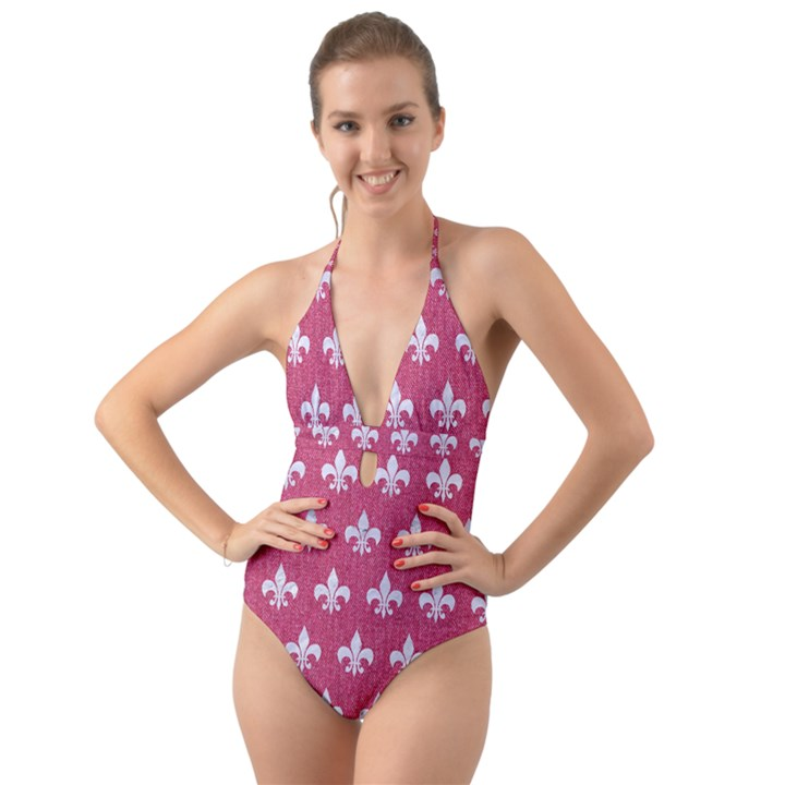 ROYAL1 WHITE MARBLE & PINK DENIM (R) Halter Cut-Out One Piece Swimsuit
