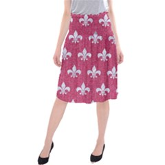 Royal1 White Marble & Pink Denim (r) Midi Beach Skirt