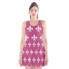 ROYAL1 WHITE MARBLE & PINK DENIM (R) Scoop Neck Skater Dress