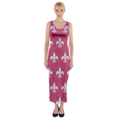 ROYAL1 WHITE MARBLE & PINK DENIM (R) Fitted Maxi Dress