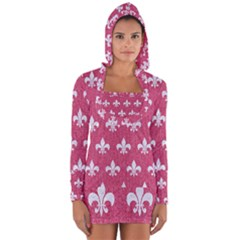 Royal1 White Marble & Pink Denim (r) Long Sleeve Hooded T Shirt by trendistuff