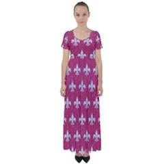 ROYAL1 WHITE MARBLE & PINK DENIM (R) High Waist Short Sleeve Maxi Dress