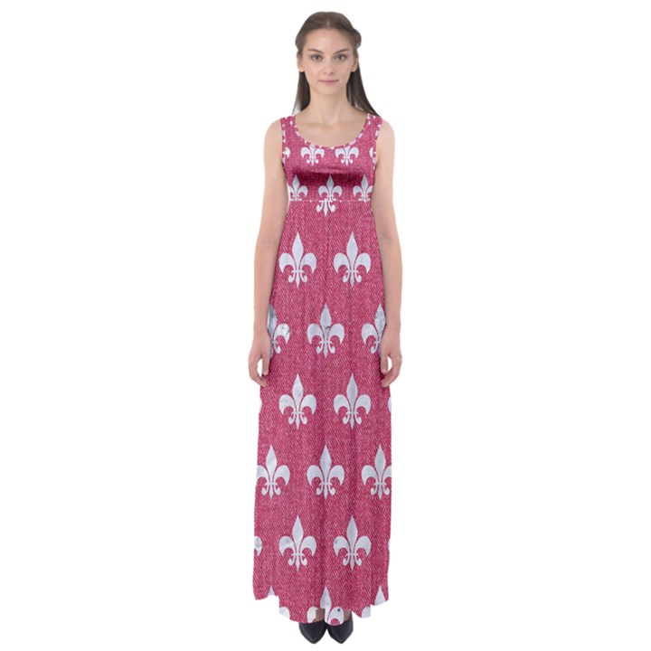 ROYAL1 WHITE MARBLE & PINK DENIM (R) Empire Waist Maxi Dress