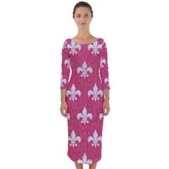 ROYAL1 WHITE MARBLE & PINK DENIM (R) Quarter Sleeve Midi Bodycon Dress