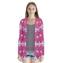 Royal1 White Marble & Pink Denim (r) Drape Collar Cardigan by trendistuff