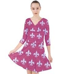Royal1 White Marble & Pink Denim (r) Quarter Sleeve Front Wrap Dress