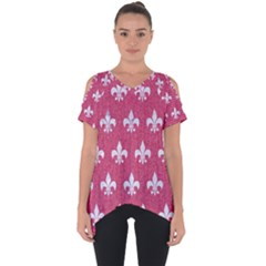 ROYAL1 WHITE MARBLE & PINK DENIM (R) Cut Out Side Drop Tee
