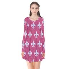 ROYAL1 WHITE MARBLE & PINK DENIM (R) Flare Dress