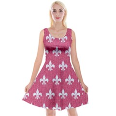 Royal1 White Marble & Pink Denim (r) Reversible Velvet Sleeveless Dress