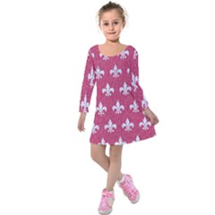 Royal1 White Marble & Pink Denim (r) Kids  Long Sleeve Velvet Dress by trendistuff
