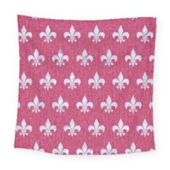 Royal1 White Marble & Pink Denim (r) Square Tapestry (large)