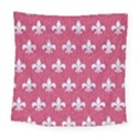 ROYAL1 WHITE MARBLE & PINK DENIM (R) Square Tapestry (Large) View1