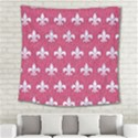 ROYAL1 WHITE MARBLE & PINK DENIM (R) Square Tapestry (Large) View2