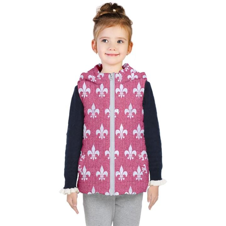 ROYAL1 WHITE MARBLE & PINK DENIM (R) Kid s Hooded Puffer Vest